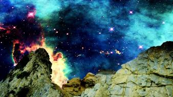 Artwork mountains outer space rocks wallpaper