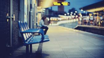 Bench bokeh depth of field pavement train stations wallpaper