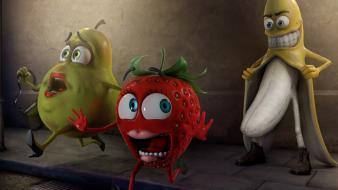 Cgi bananas strawberries pears flashing Wallpaper