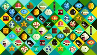 Checkered artwork objects squares retro symbols boo Wallpaper