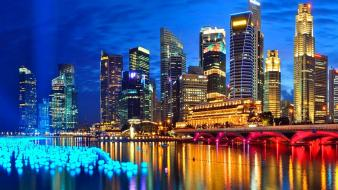 Cityscapes night buildings singapore wallpaper
