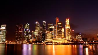 Cityscapes singapore aurora skyline wallpaper