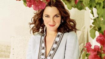 Drew barrymore actress brunettes celebrity flowers wallpaper