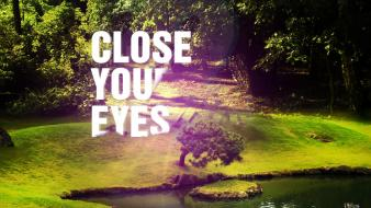 Eyes garden nature typography wallpaper