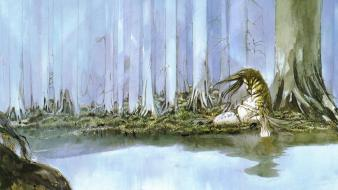 Forest fantasy art artwork sea Wallpaper