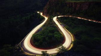 Forests landscapes light trails long exposure roads wallpaper