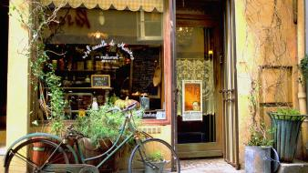 France bicycles potted plant stores wallpaper