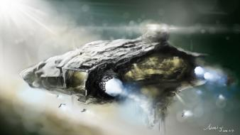 Futuristic spaceships artwork Wallpaper