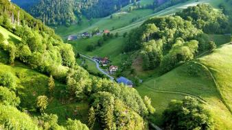Germany forests green hills houses wallpaper