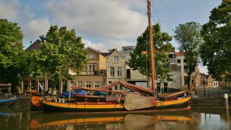 Harbor the netherlands boats houses trees wallpaper