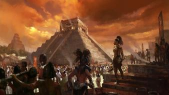 Maya artwork aztec pyramids sacrifice wallpaper