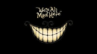 Minimalistic alice in wonderland cheshire cat madness wallpaper