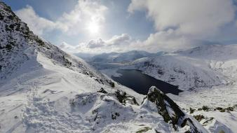Mountains clouds wales lakes snowy wallpaper
