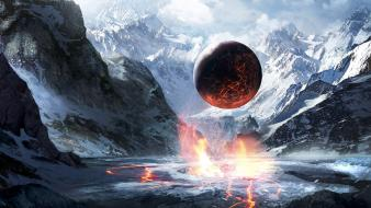 Mountains snow planets valleys fantasy art artwork hover wallpaper