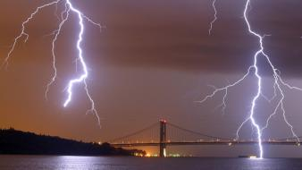 Nature night bridges national geographic lightning wallpaper