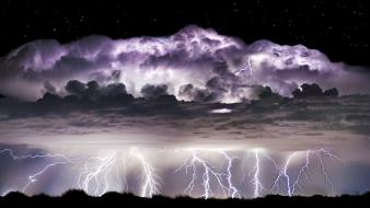 Nocturnal black clouds electric storm landscapes wallpaper