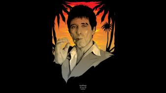 Scarface tony montana black background fan art Wallpaper