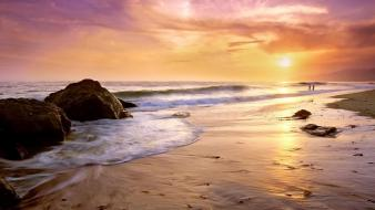 Sunset beach rock wallpaper