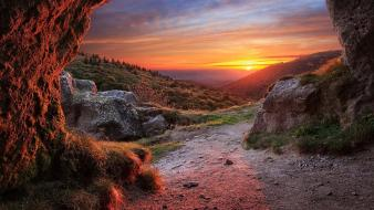Sunset clouds landscapes nature hills the cave wallpaper