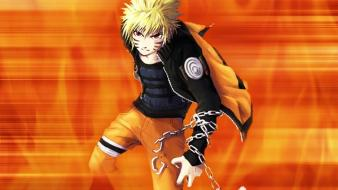 Uzumaki naruto chains orange background red eyes wallpaper