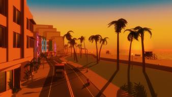 Video games palm trees gta vice city beach Wallpaper