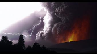Volcanoes lightning volcano puyehue wallpaper