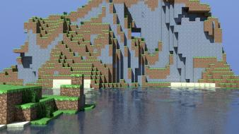Water mountains minecraft cinema 4d tapeta wallpaper