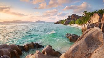 Water ocean nature beach trees cliffs seychelles wallpaper