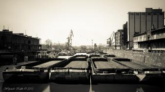 And white ships sepia port warehouse harbours wallpaper