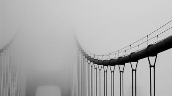 Architecture fog bridges grayscale wallpaper