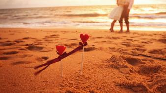 Beaches couple love sea Wallpaper