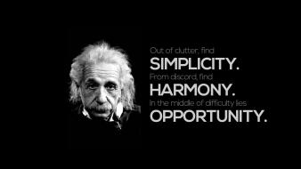 Black quotes harmony simple opportunity einstein albert wallpaper
