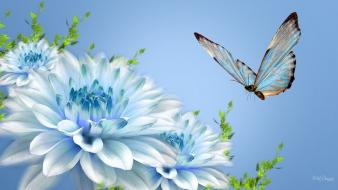 Blue flowers and butterfly wallpaper