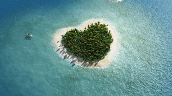 Boats hearts islands sea trees wallpaper