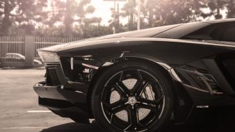 Cars grayscale sunlight lamborghini aventador rims wallpaper