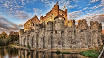 Castles stronghold ghent gravensteen wallpaper