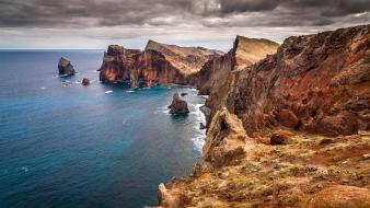 Cliff coast dark clouds landscapes nature wallpaper