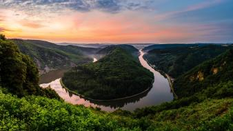Curve landscapes nature rivers skies wallpaper