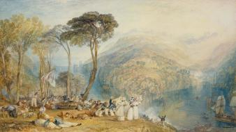 Dartmouth cove j. m. w. turner artwork landscapes wallpaper