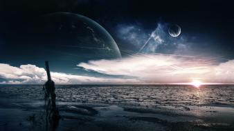 Digital art outer space sea wallpaper