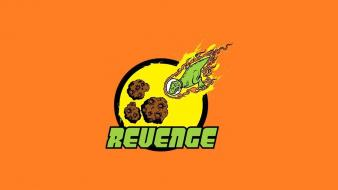 Dinosaurs humor revenge meteorite orange background wallpaper