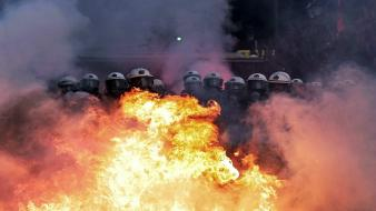 Explosions fire riot police rebel greece rebels wallpaper