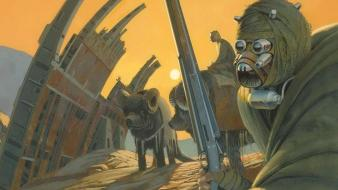 Fiction artwork ralph mcquarrie tusken raiders tatooine wallpaper