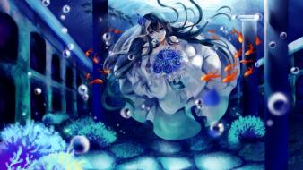 Fish bubbles wedding dresses underwater black hair wallpaper