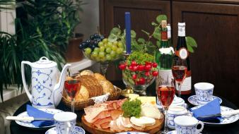 Food cheese bread grapes wine wallpaper