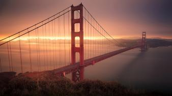 Gate bridge california san francisco morning skyscapes wallpaper