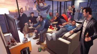 Grand theft auto artwork characters character illustration Wallpaper