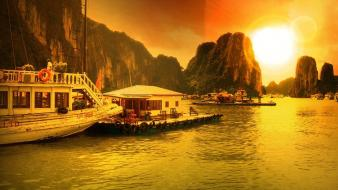 Ha long bay landscapes nature sunset Wallpaper