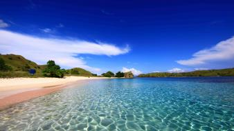 Hills islands komodo dragons turquoise waters beach wallpaper