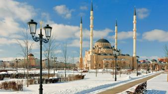 Islam muslim minaret mosques snow Wallpaper